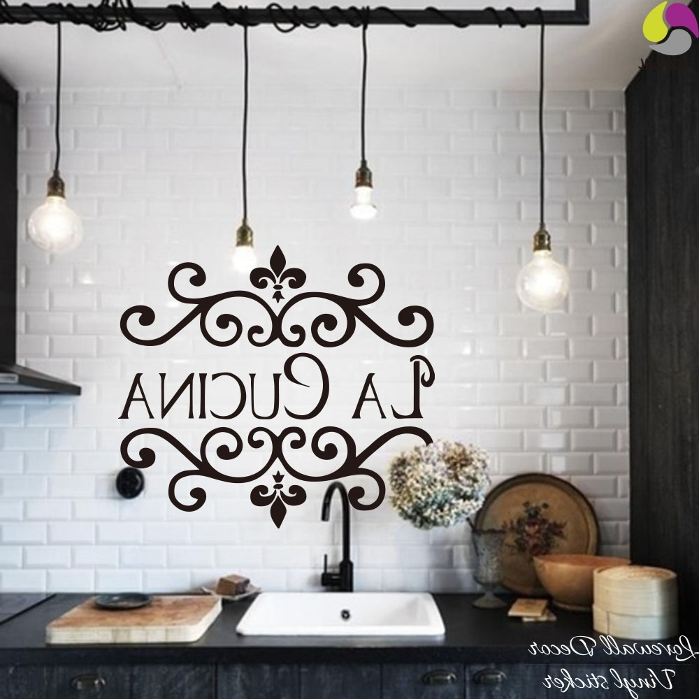 Cucina Wall Art Decors In Best And Newest La Cucina Kitchen Wall Sticker Italian Kitchen Quote Wall Decor (View 2 of 15)