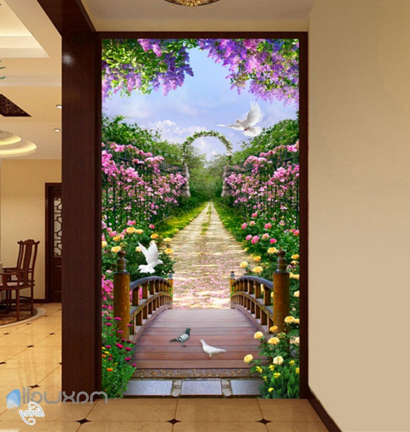 Current 3D Flowers Garden Bridge Arch Corridor Entrance Wall Mural Decals  In 3D Garden Wall Art