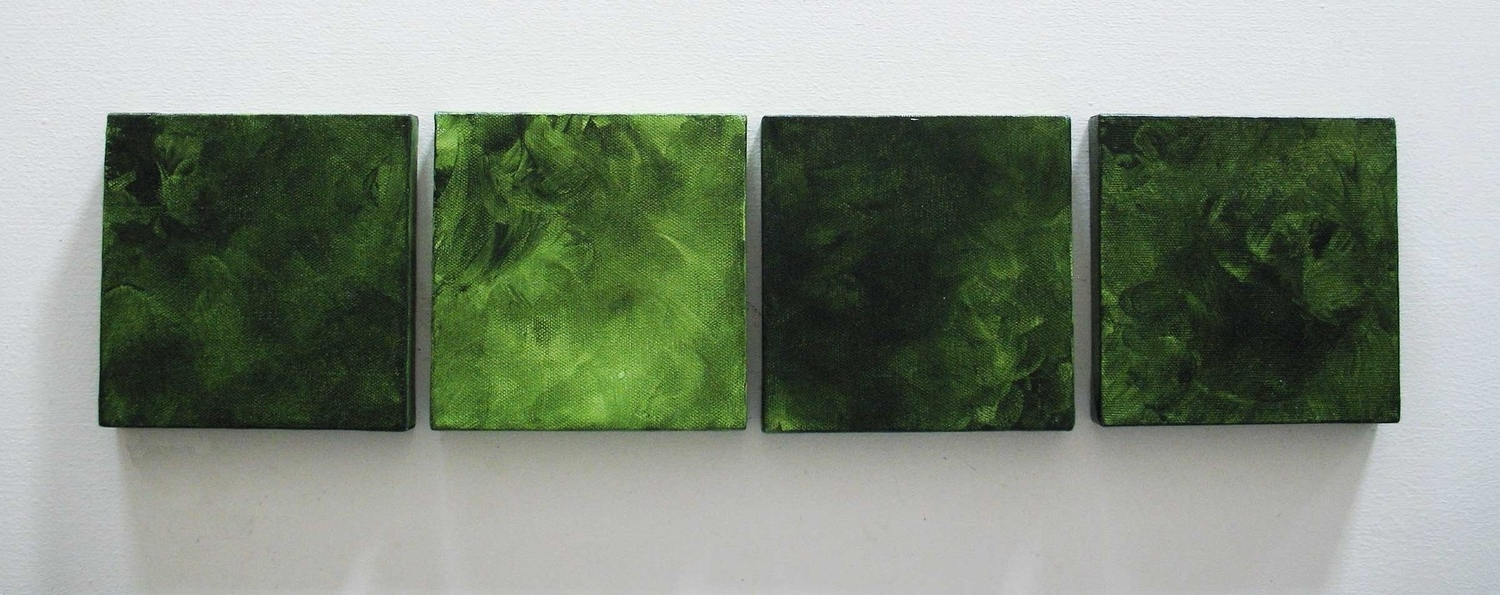 Current 4 Piece Green Abstract Painting With Hand Painted Abstract Wall Inside Green Abstract Wall Art (Gallery 1 of 15)