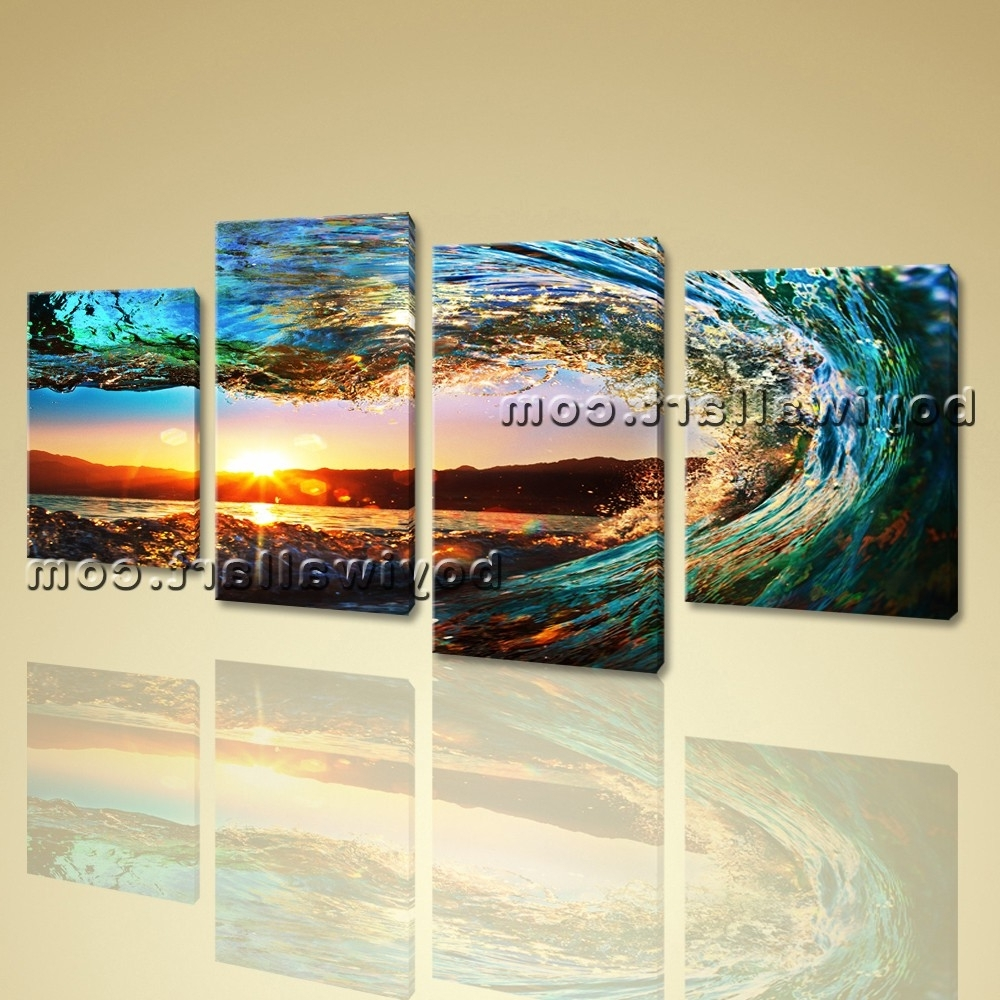 Current 4 Piece Wall Art For Large 4 Pieces Canvas Prints Gallery Wrapped Wall Art Surf Sunset (View 4 of 15)