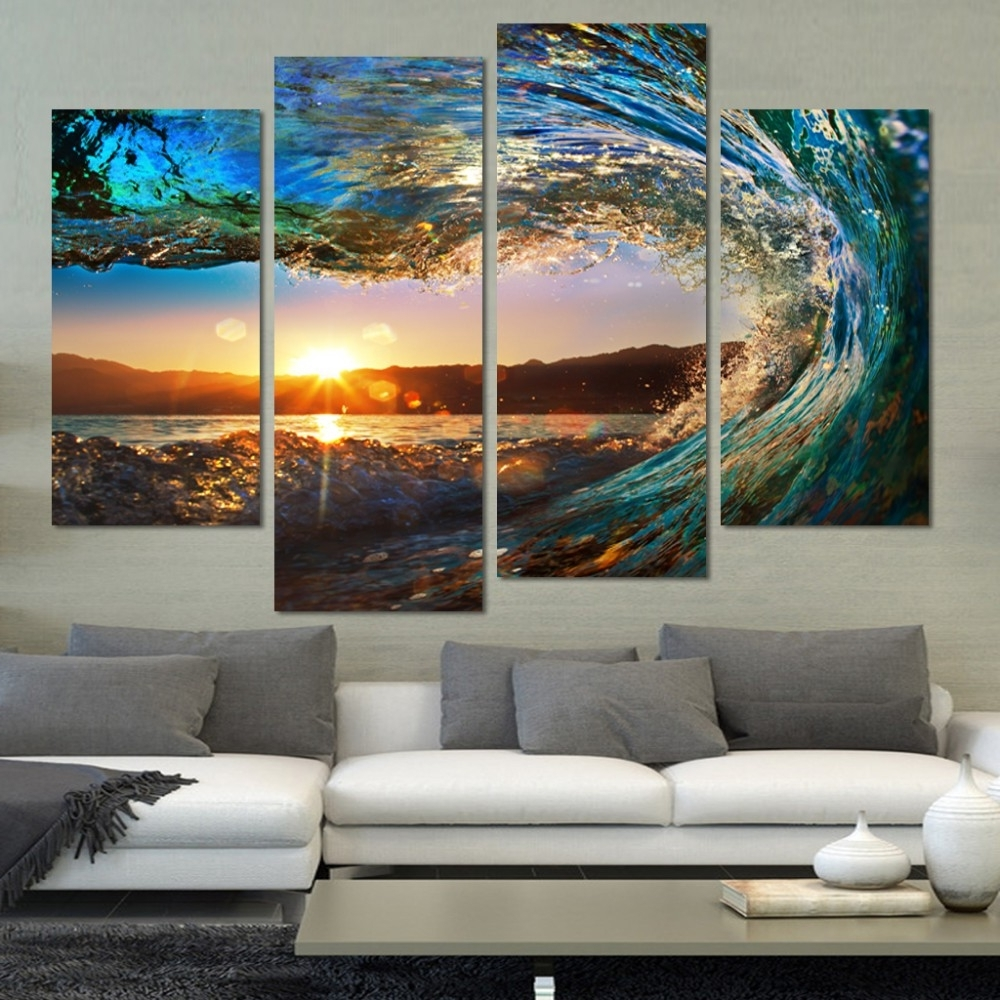 Current 4 Piece Wall Art With 4 Pieces Modern Seascape Painting Canvas Art Hd Sea Wave Landscape (View 5 of 15)