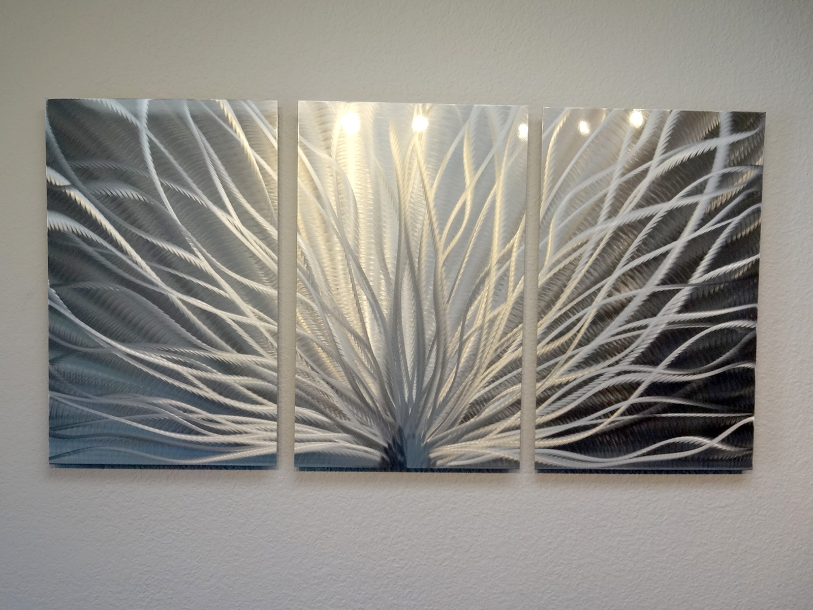 Current Abstract Metal Wall Art Panels Inside Radiance U2013 3 Panel Metal Wall  Art Abstract Contemporary
