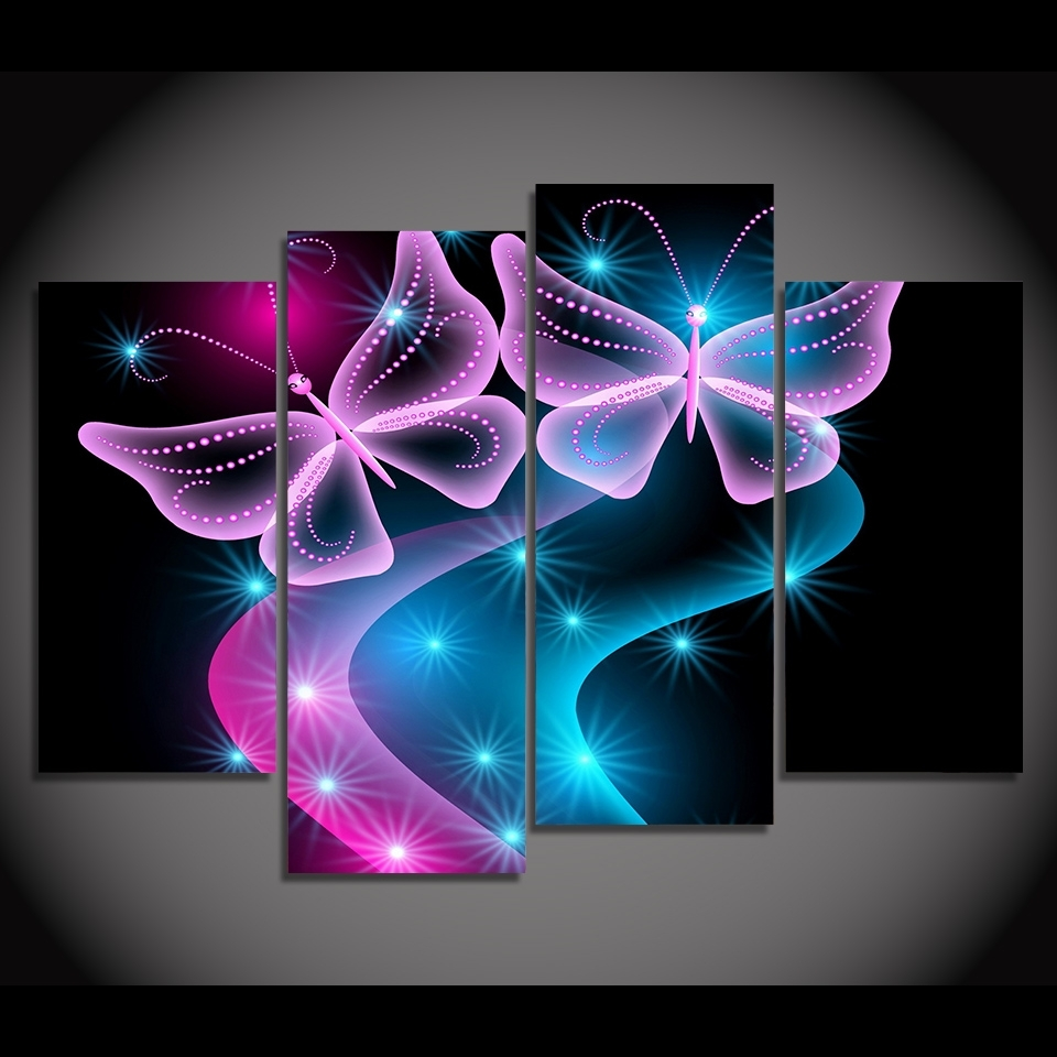 Current Abstract Neon Wall Art For 4 Panel Canvas Painting Canvas Art Butterflies Neon Light Hd (View 1 of 15)