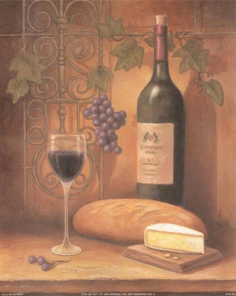 Current Art Print Wine Bread Cheese Still Life Wall Decor Food Grapes Free Intended For Italian Wine Wall Art (View 1 of 15)