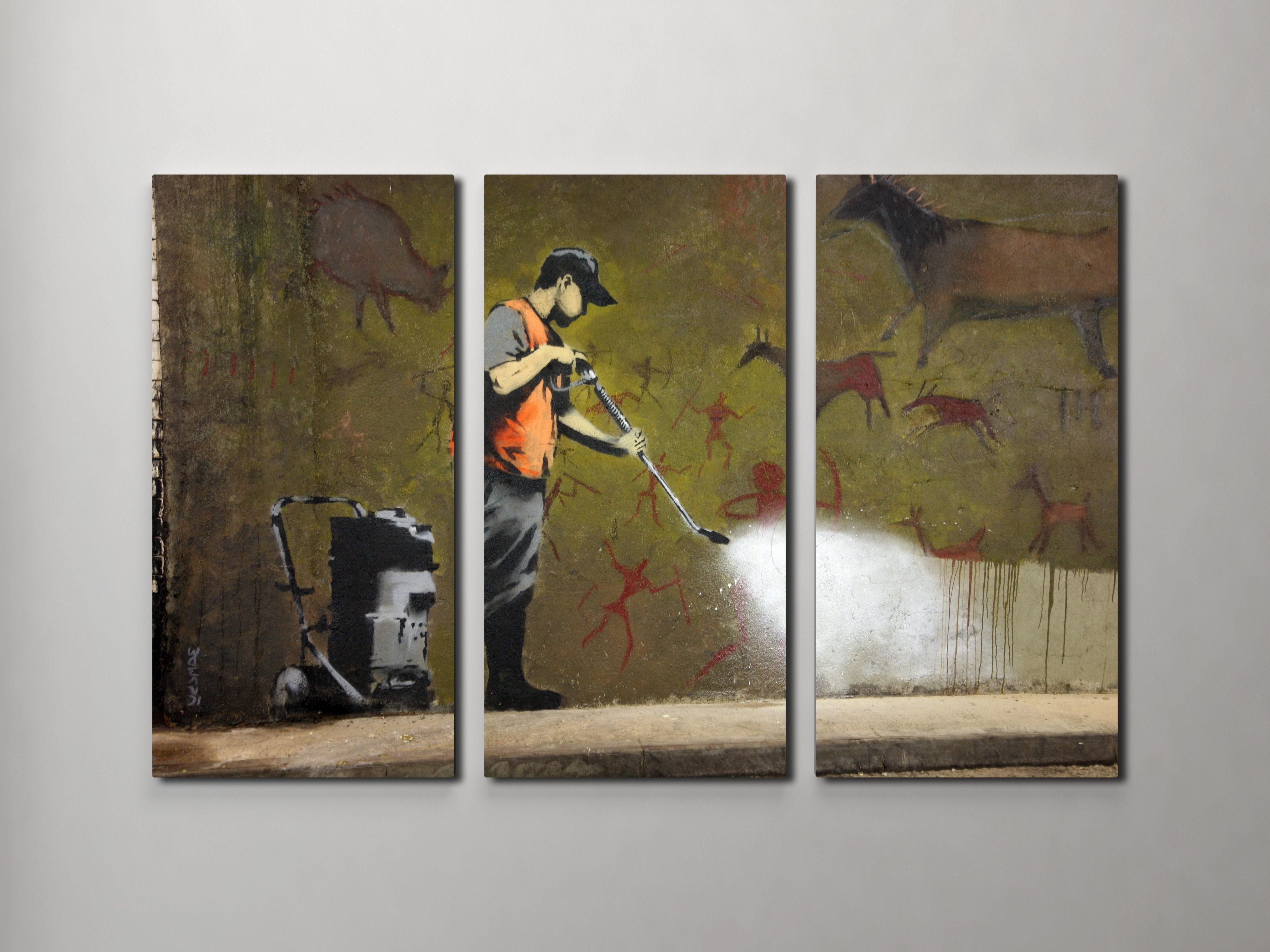 Current Banksy Canvas Wall Art With Regard To Banksy Cave Painting Canvas Triptych Canvas Wall Art (View 10 of 15)