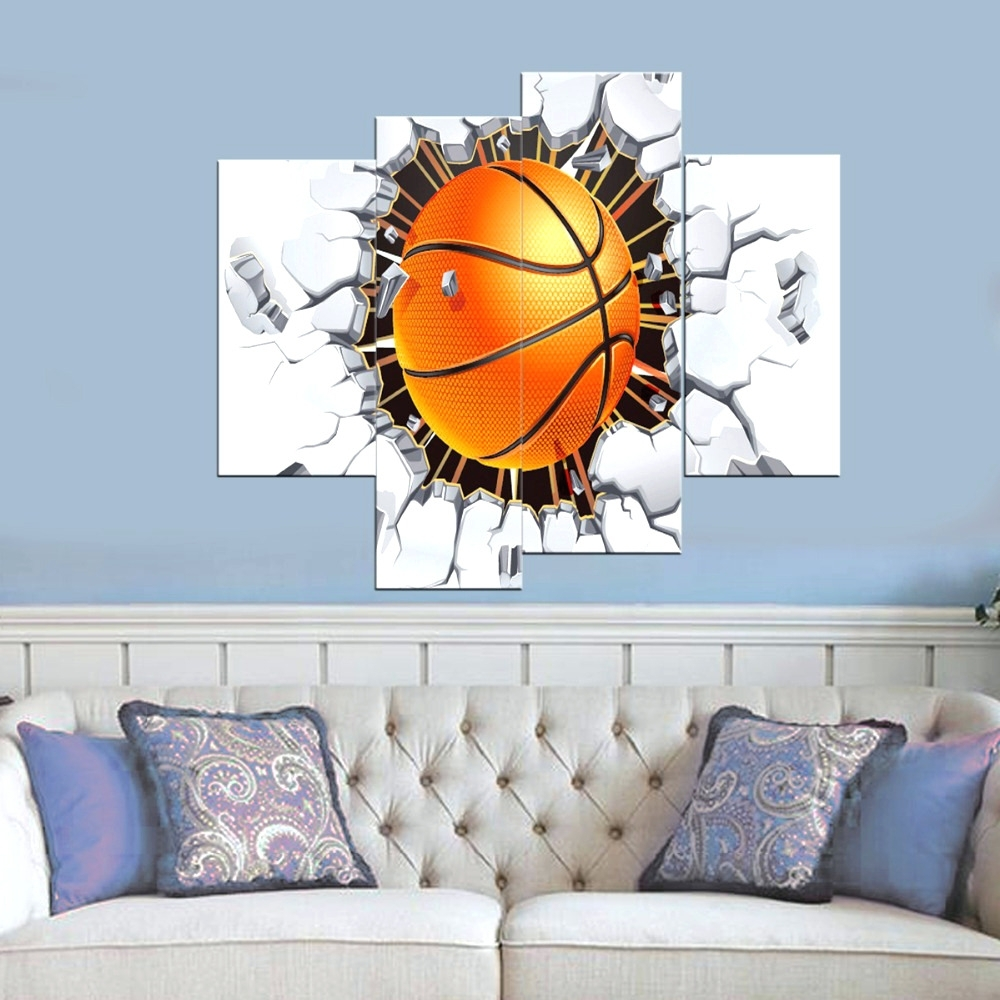 Current Baseball 3D Wall Art Intended For Wall Arts ~ Basketball Wall Art Stickers Basketball Metal Wall Art (View 5 of 15)