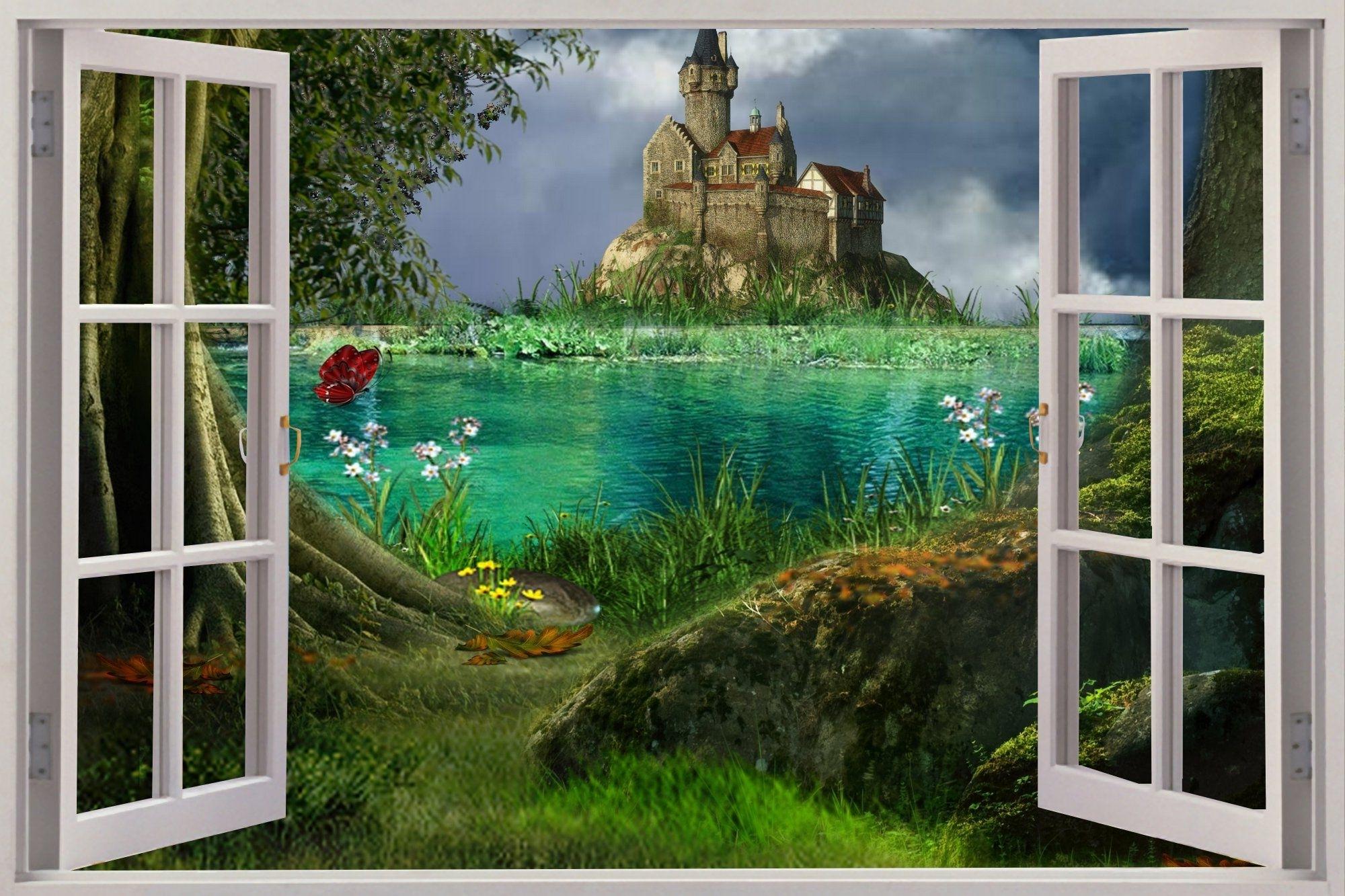 Current B>Enchanted</b> <B>Forest</b> Wallpaper <B>Mural</b> Huge 3D Inside 3D Wall Art Window (View 9 of 15)