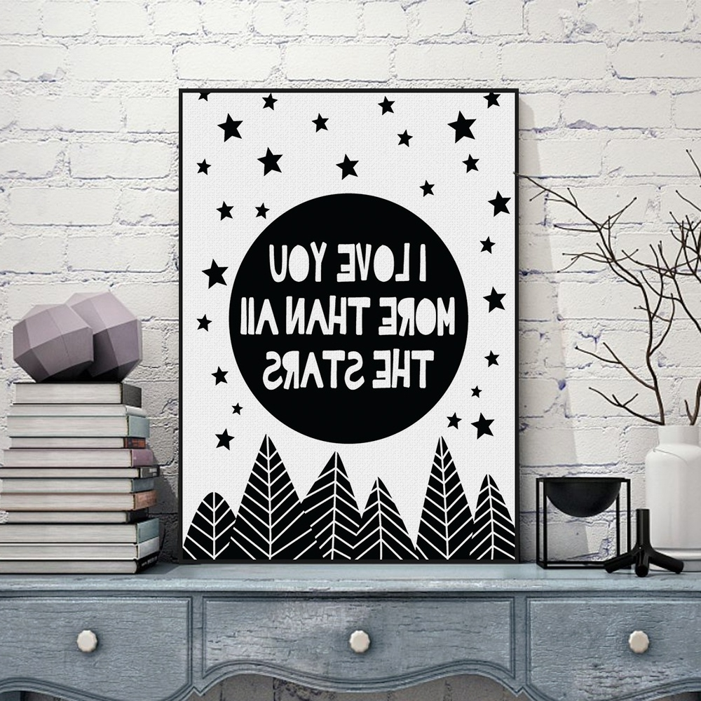 Current Black Love Wall Art For Modern Nordic Black White Minimalist Typography Star Love Quotes (View 8 of 15)