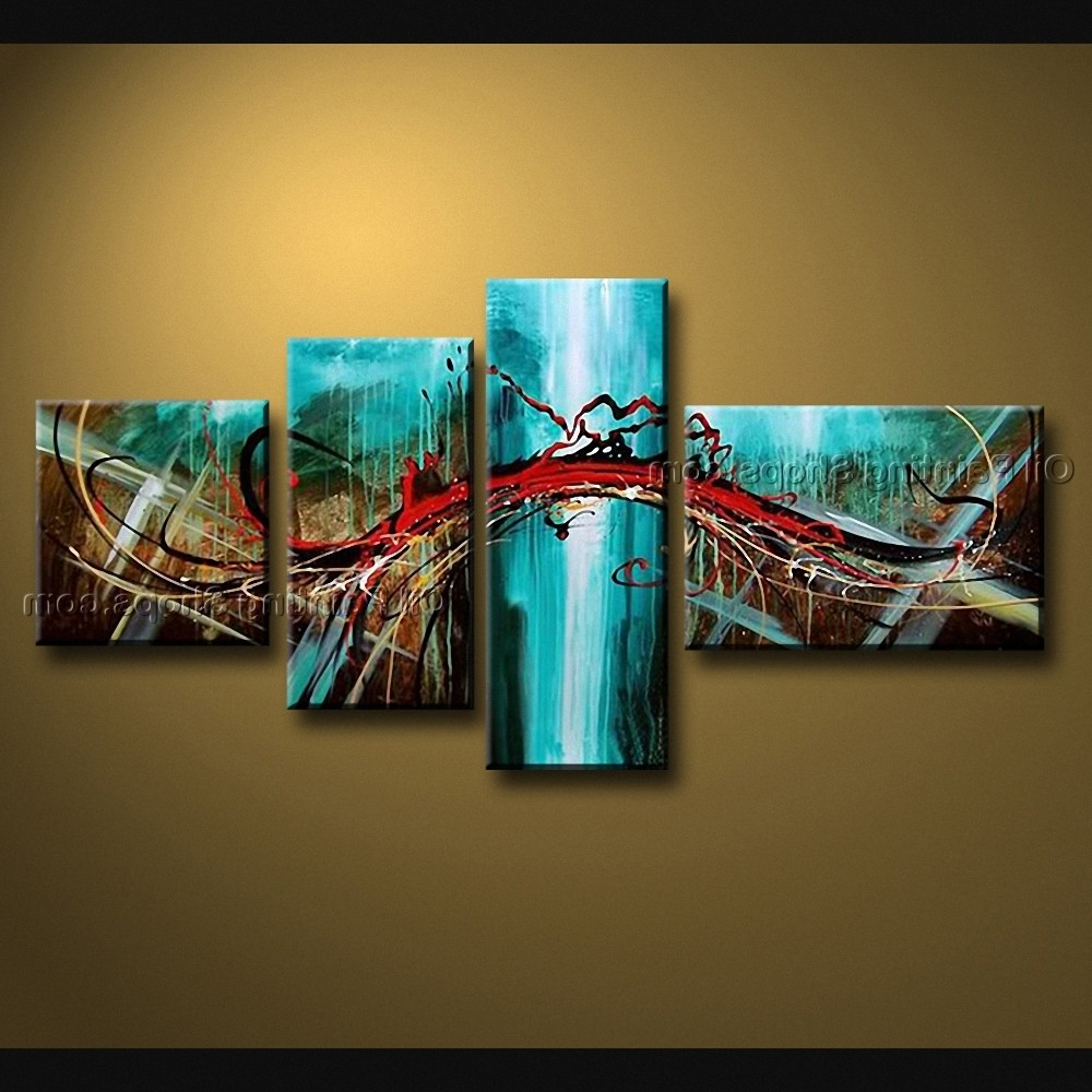 Current Blue And Brown Abstract Wall Art With Painted 4 Pieces Modern Abstract Painting Wall Art Interior Design (View 8 of 15)