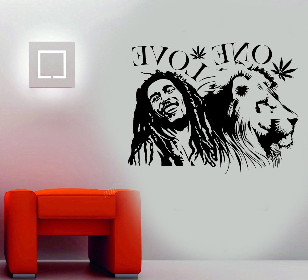 "Current Bob Marley Wall Art Pertaining To Wall Stickers Bob Marley Lion Zion ""one Love"" Marijuana Quote Wall (View 8 of 15)"