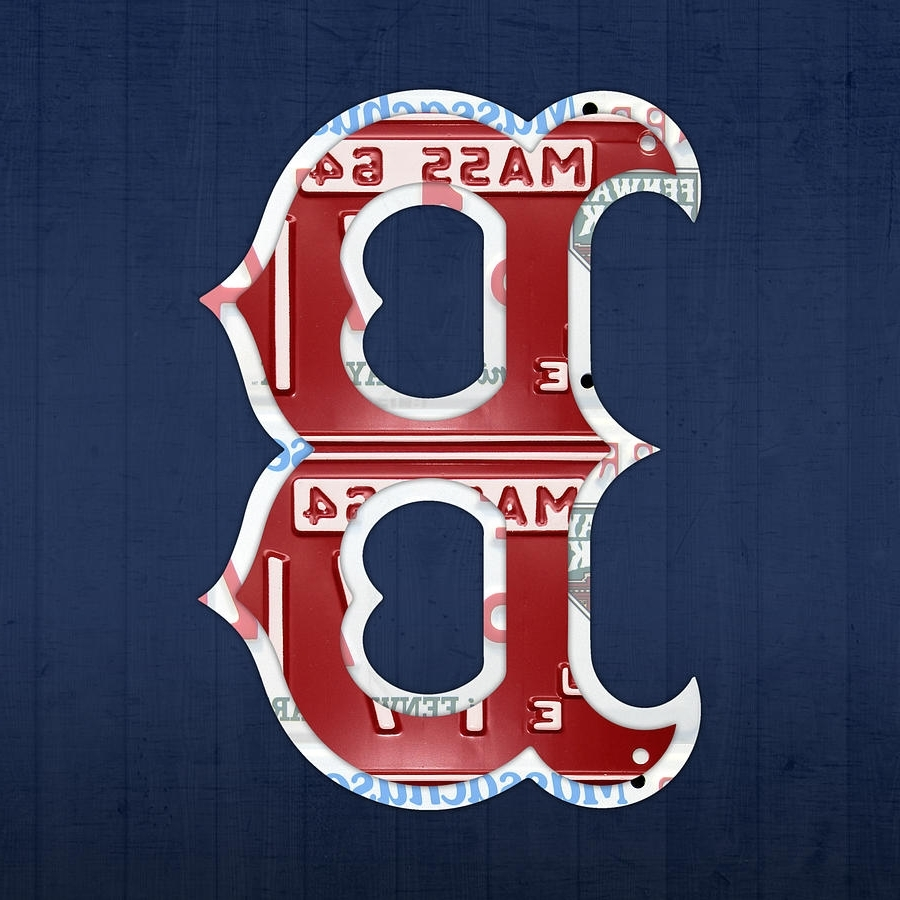 Current Boston Red Sox Wall Art Throughout Boston Red Sox Logo Letter B Baseball Team Vintage License Plate (View 4 of 15)