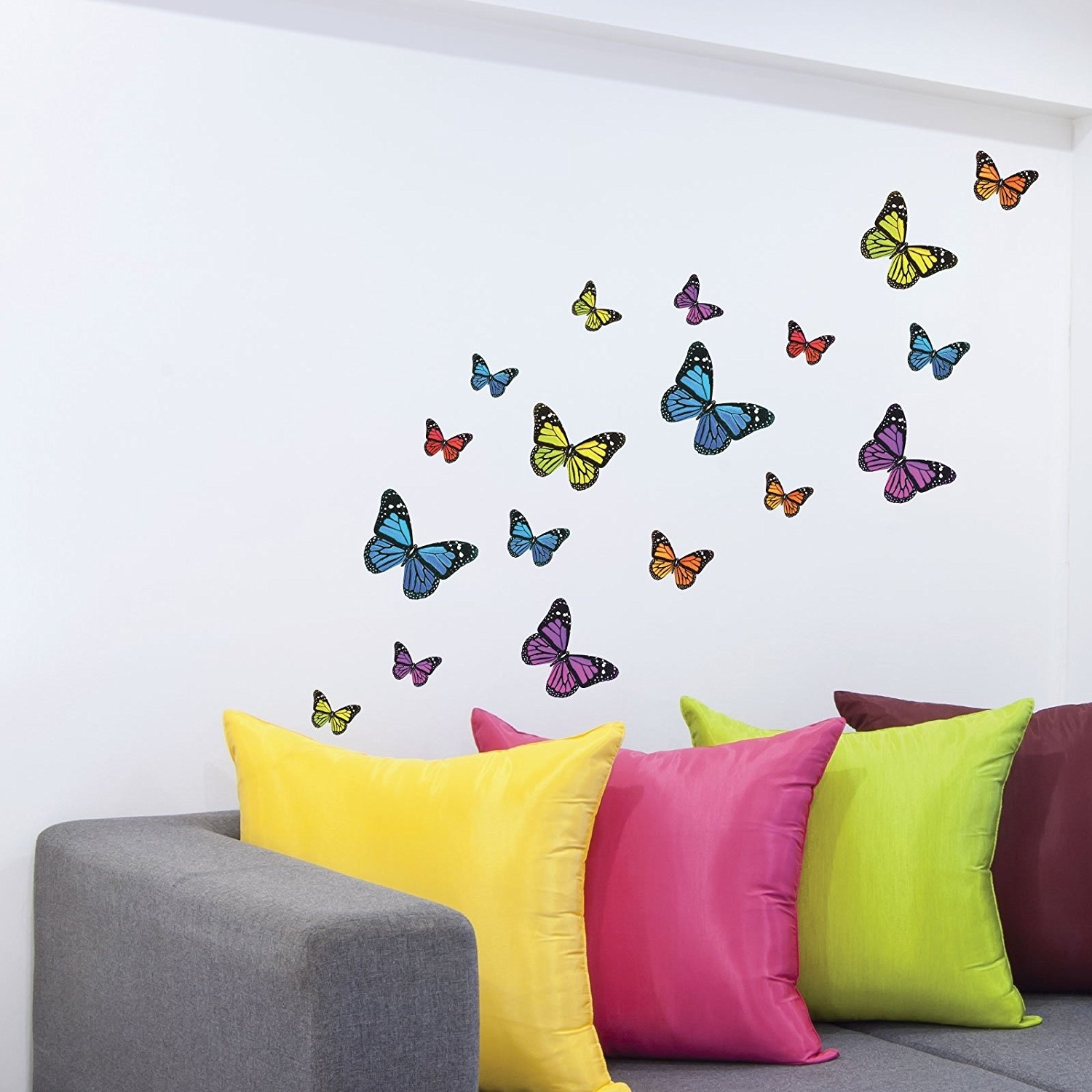 Current Butterflies Wall Art Stickers With Regard To Monarch Butterfly Wall Stickers, Wall Decals, 21 Piece Mixed (View 2 of 15)