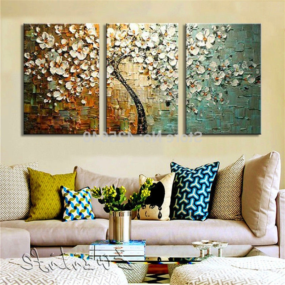 Current Canvas Painting 3 Pieces Palette Knife Tree Acrylic Painting Wall Pertaining To Wall Art Sets Of  (View 5 of 15)