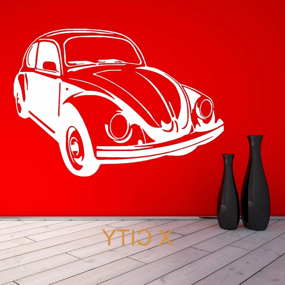Current Classic Car Wall Art Within For Vw Beetle Bug Retro Volkswagen Vintage Classic Car Wall Art (View 12 of 15)