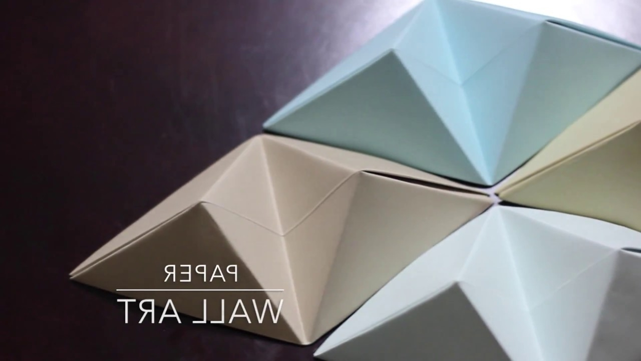 Current Diy – Origami Wall Art – Youtube Throughout 3d Triangle Wall Art (View 4 of 15)