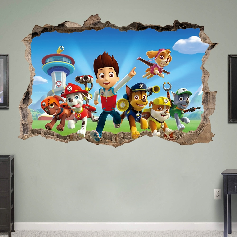 Current Dogs 3D Wall Art Inside Paw Patrol 3D Wall Sticker Smashed Bedroom Kids Decor Vinyl (View 2 of 15)