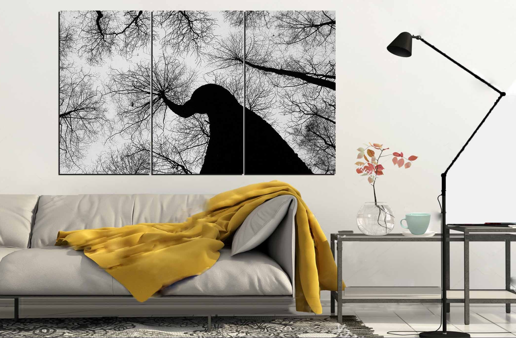 Current Dry Trees Wall Art,black And White Trees,large Wall Art Throughout Large Black And White Wall Art (View 2 of 15)