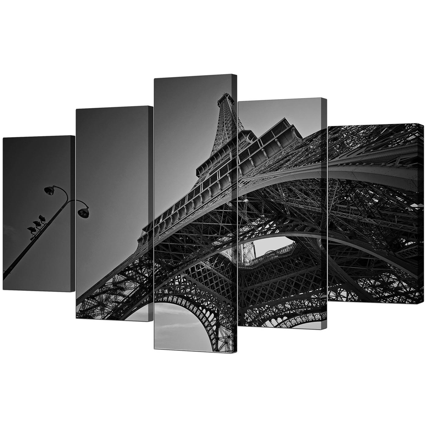 Current Extra Large Eiffel Tower Paris Canvas Art Set Of 5 In Black & White Intended For Black And White Paris Wall Art (View 6 of 15)