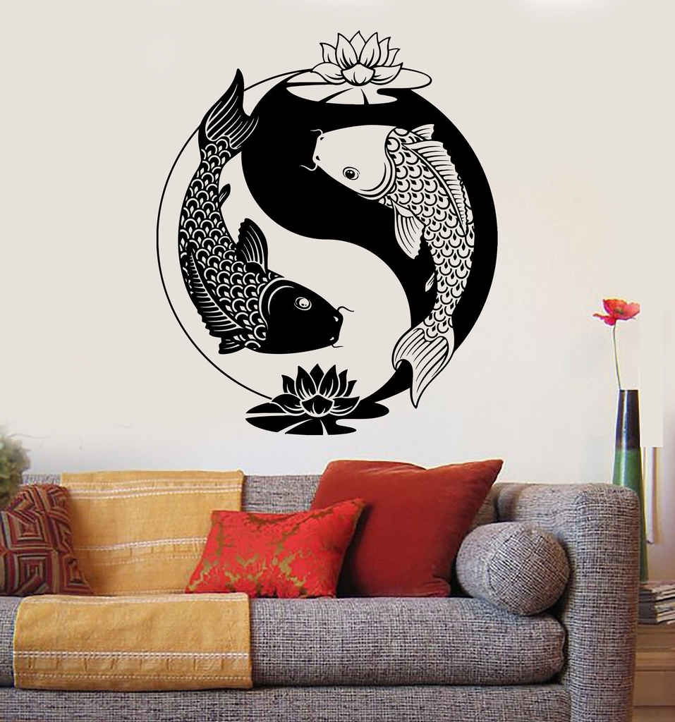Current Floral Yin Yang Symbol Cool Yin Yang Wall Decal – Wall Art And Pertaining To Yin Yang Wall Art (View 2 of 15)