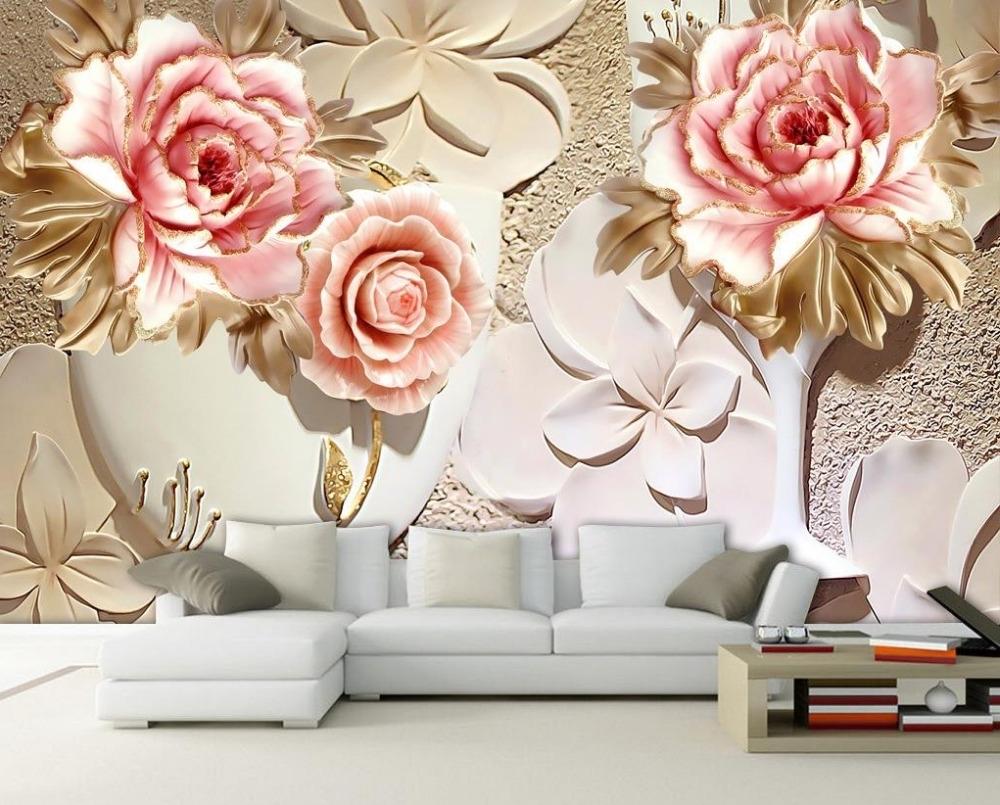 Current Flowers 3D Wall Art Regarding Custom 3D Wallpaper Murals 3D Flower Wallpaper Relief Flower 3D (View 3 of 15)