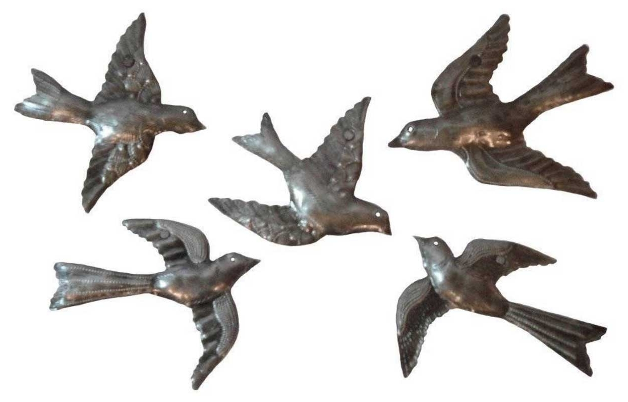 Current Flying Birds Metal Wall Art Sculpture 5 Small Flock Birds (View 3 of 15)