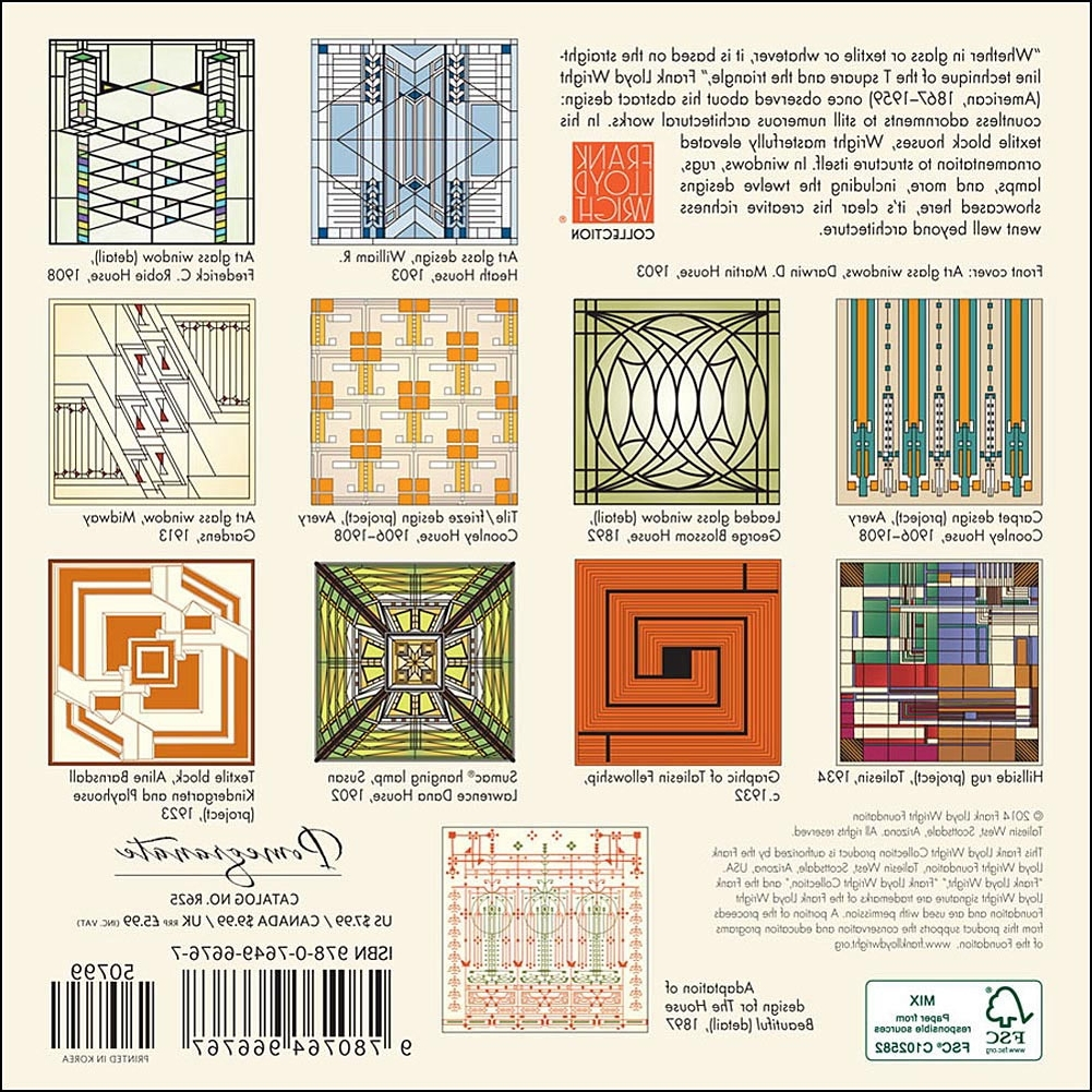 Current Frank Lloyd Wright Designs 2015 Mini Wall Calendar: 9780764966767 Pertaining To Frank Lloyd Wright Wall Art (View 3 of 15)