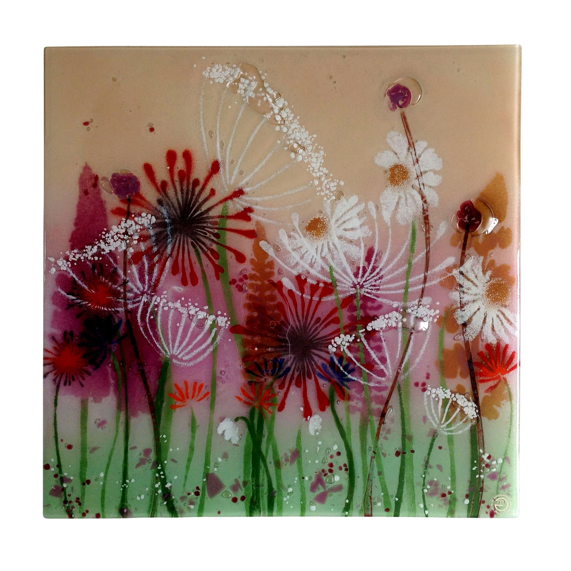 Current Fused Glass Wall Art Panels Throughout Large Summer Meadow Fused Glass Wall Panel (View 10 of 15)