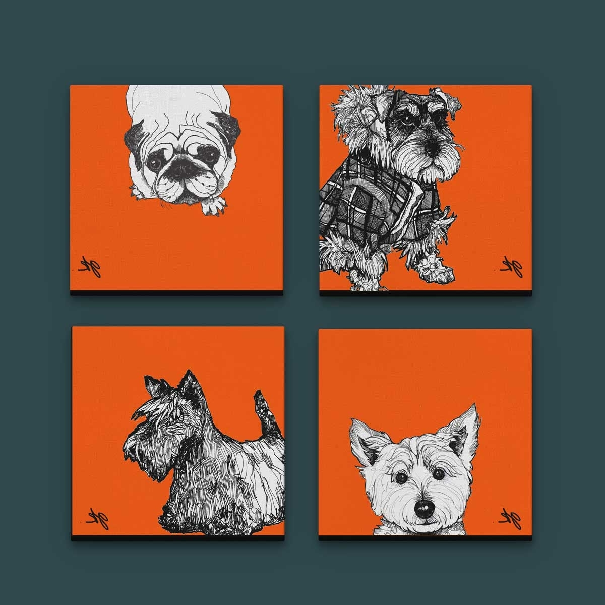 Current Gillian Kyle Scottish Wall Art Wee Dugs Orange Canvas Collection For Westie Wall Art (View 1 of 15)