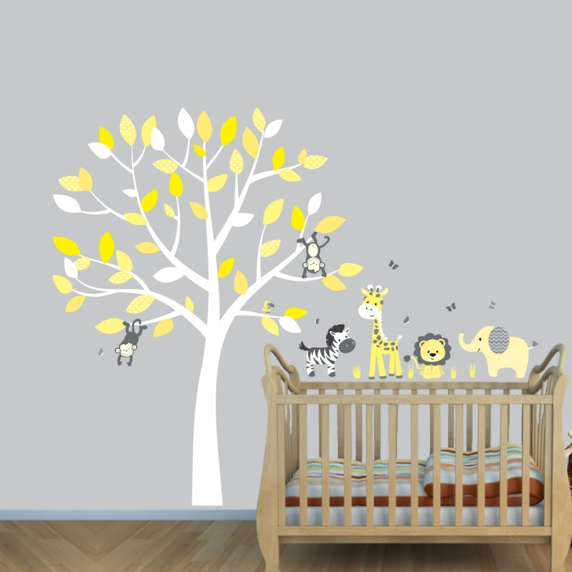 Current Grey Jungle Wall Stickers With Elephant Decals For Yellow Nursery Intended For Yellow Grey Wall Art (View 13 of 15)