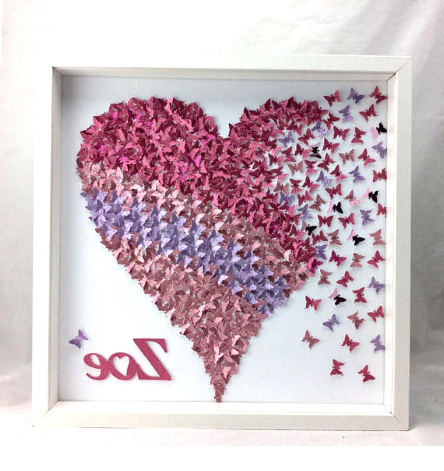 Current Heart 3D Wall Art With Pink & Light Purple Paper Butterflies Heart ,3D Wall Art , Girl (View 4 of 15)