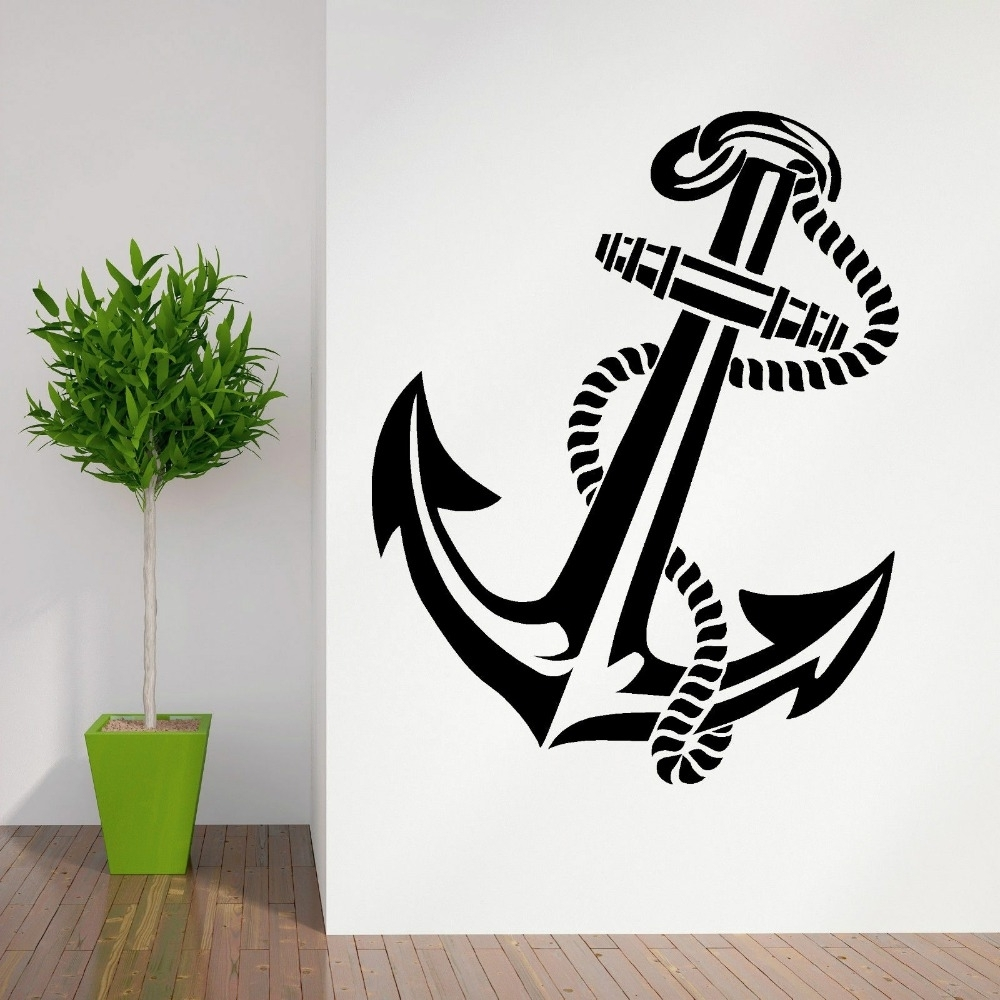 Current High Quality Anchor Retro Vintage Tattoo Ships Vinyl Wall Art Regarding Tattoo Wall Art (View 4 of 15)