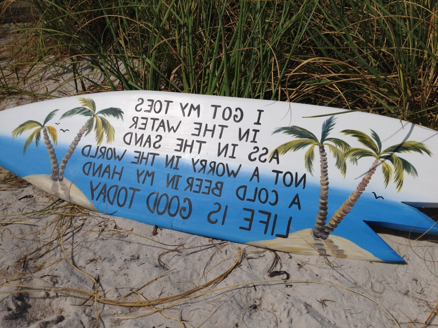 Current I Got My Toes In The Water Surfboard Sign, Beach Bar Decor, Life Throughout Life Is Good Wall Art (View 1 of 15)