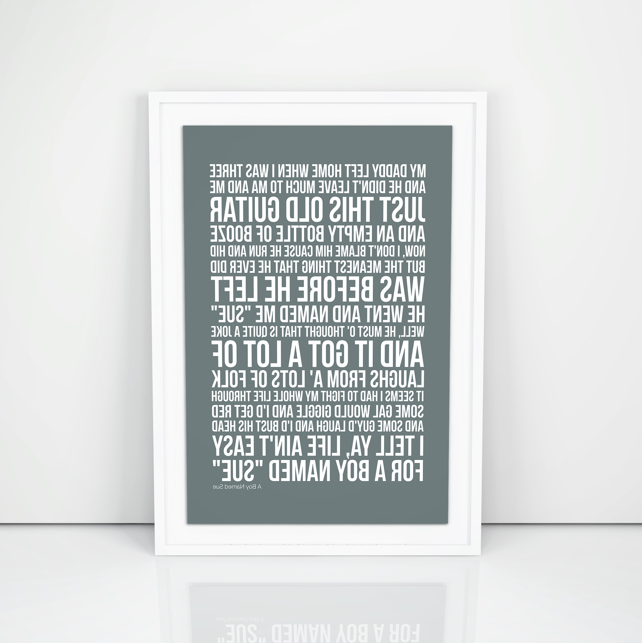 Current Johnny Cash A Boy Named Sue Lyrics Poster Printed Wall Artwork (View 5 of 15)