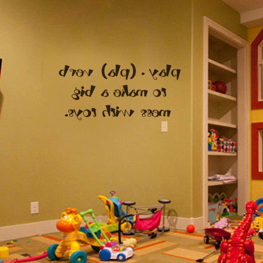 Current Kids Wall Art Children Playroom Wall Decals Play (Pla) Verb To In Playroom Wall Art (View 4 of 15)