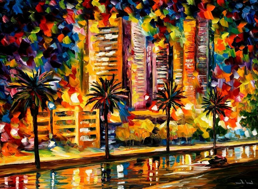 Current Light Abstract Wall Art Intended For The Night Lights Of Miami — Palette Knife Oil Painting On Canvas (View 2 of 15)