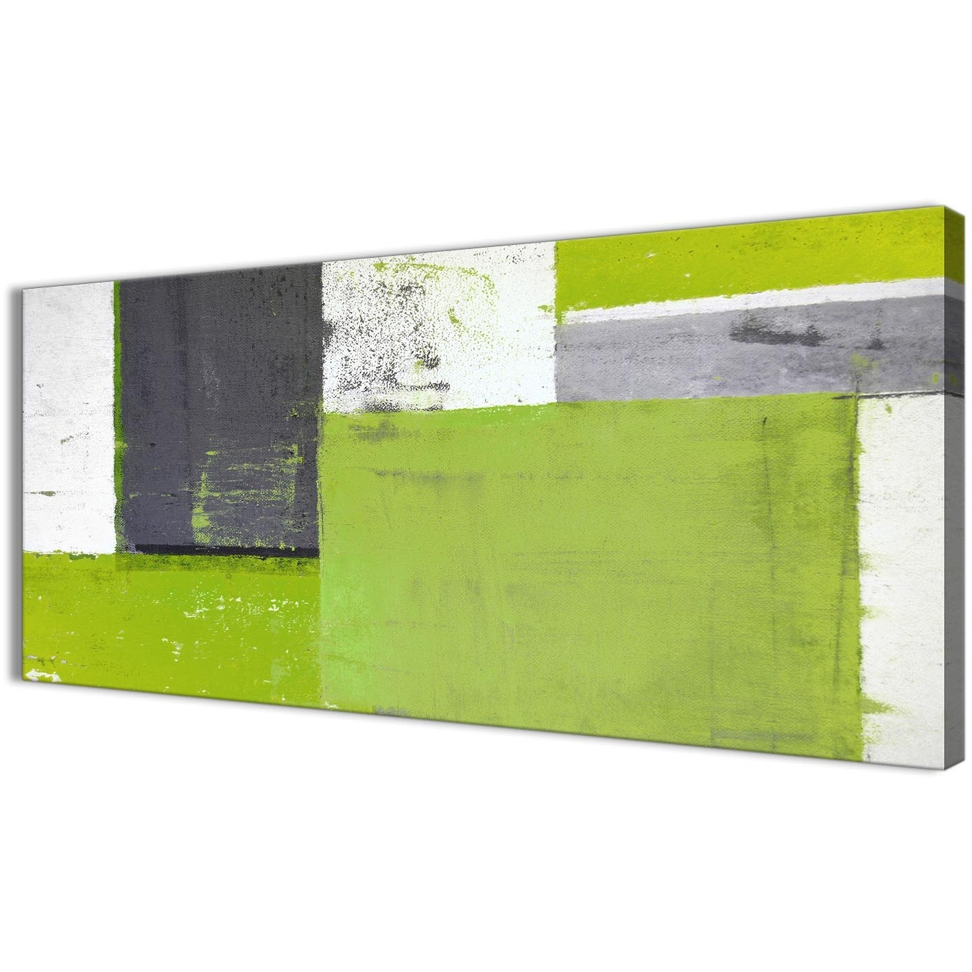 Current Lime Green Grey Abstract Painting Canvas Wall Art Print – Modern Intended For Lime Green Abstract Wall Art (View 2 of 15)
