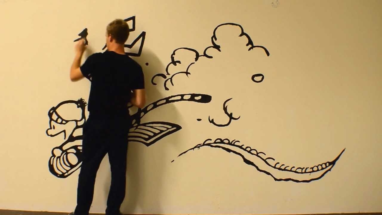 Current Massive Calvin And Hobbes Time Lapse Painting – Youtube With Calvin And Hobbes Wall Art (View 12 of 15)