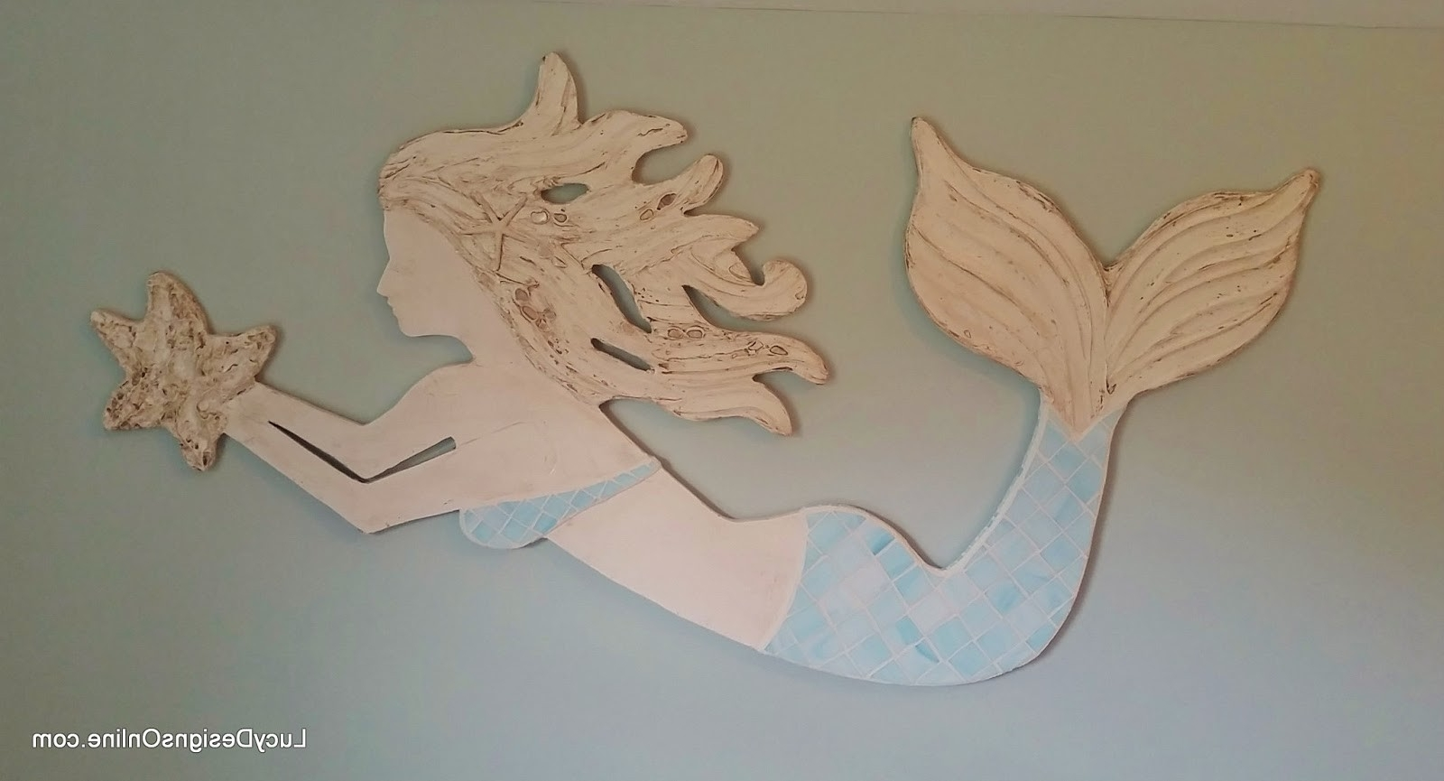 Current Mermaid Wood Wall Art Intended For Colors : Wooden Mermaid Wall Decor In Conjunction With Swimming (View 4 of 15)