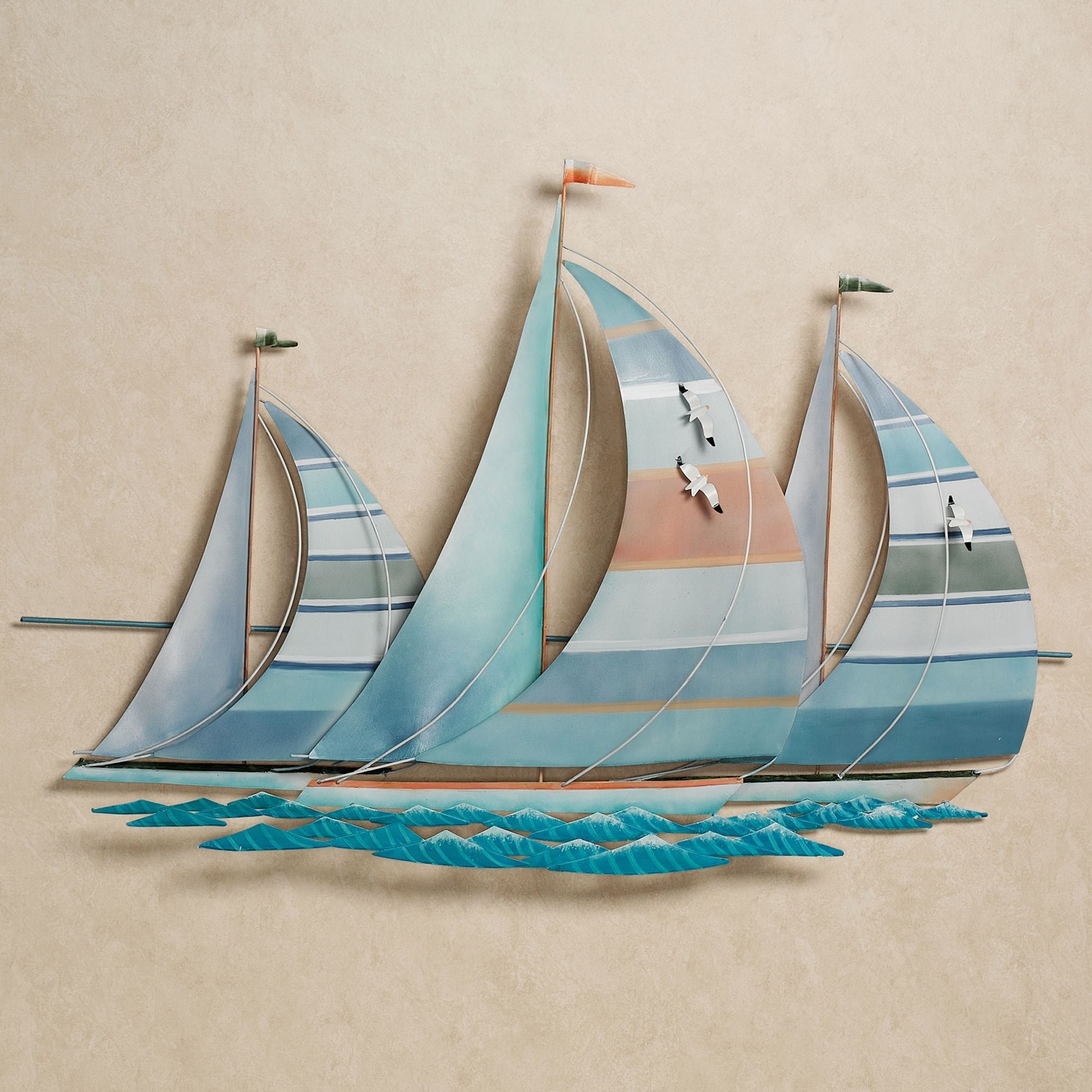 Current Metal Sailboat Wall Art Throughout Metal Sailboat Wall Decor Metal Art Sailboats Wall Sculpture (View 3 of 15)