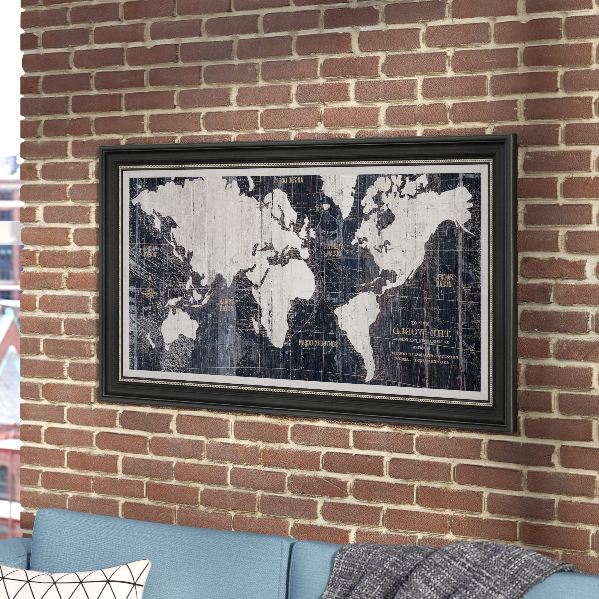 Showing gallery of framed world map wall art view 3 of 15 photos current old world map blue framed graphic art on wrapped canvas reviews regarding framed gumiabroncs