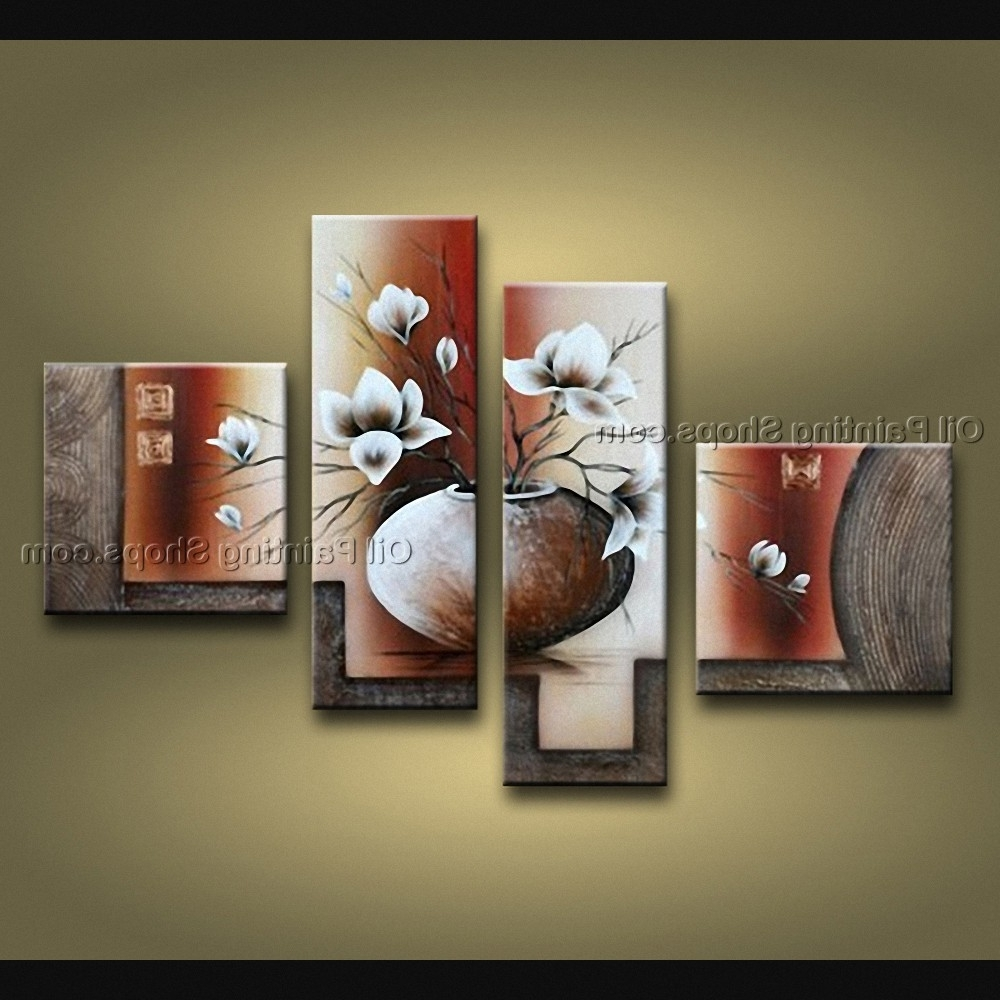 Current Pieces Contemporary Wall Art Floral Painting Tulip Contemporary Decor Intended For 4 Piece Wall Art (View 6 of 15)