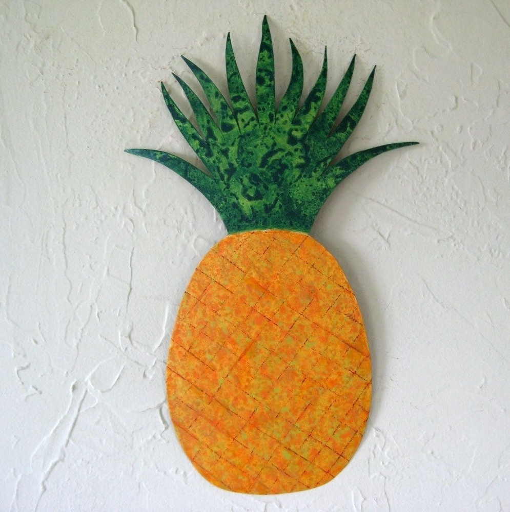 Current Pineapple Metal Wall Art Pertaining To Hand Crafted Handmade Upcycled Metal Pineapple Wall Art Sculpture (View 4 of 15)