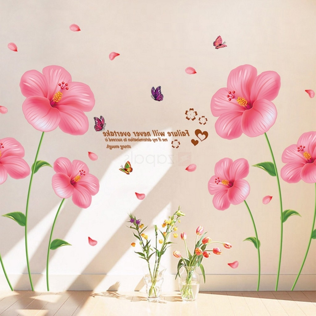 Current Pink Flower Wall Art With Regard To Pink Flower Wall Stickers Living Room Bedroom Wall Art Decals (View 2 of 15)