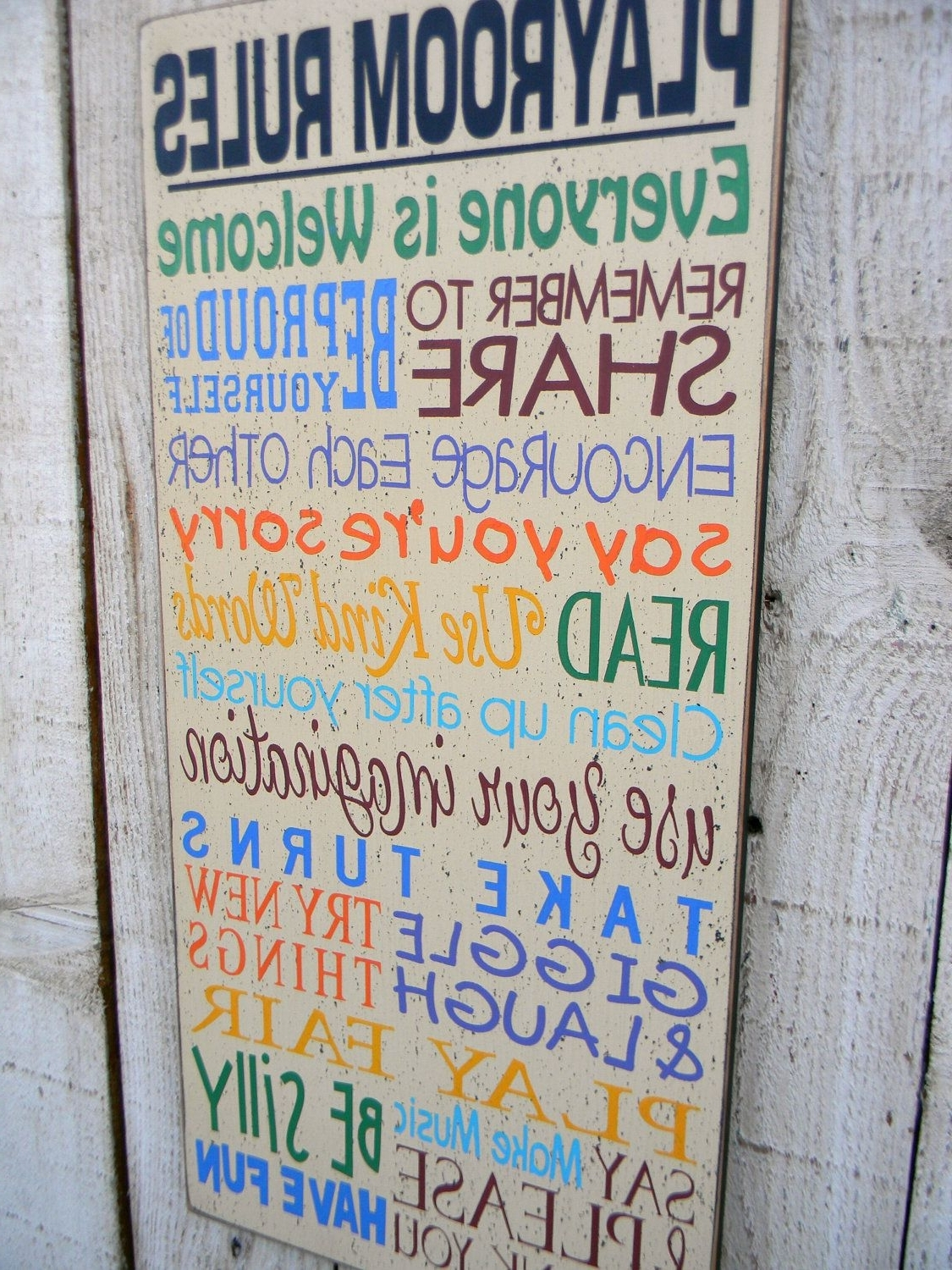 Current Playroom Rules Typography Wall Sign (Gallery 1 of 15)