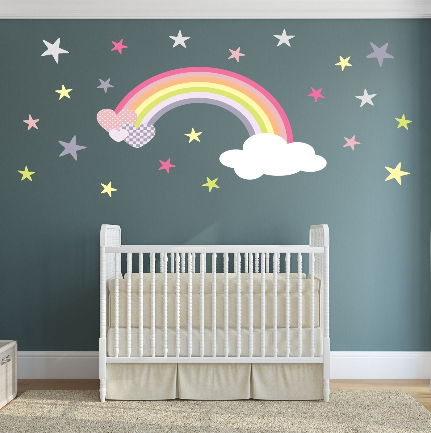 Current Rainbow Butterfly Wall Art Within Rainbow Wall Decal Girls Wall Stickers Nursery Baby Room Decor (View 3 of 15)