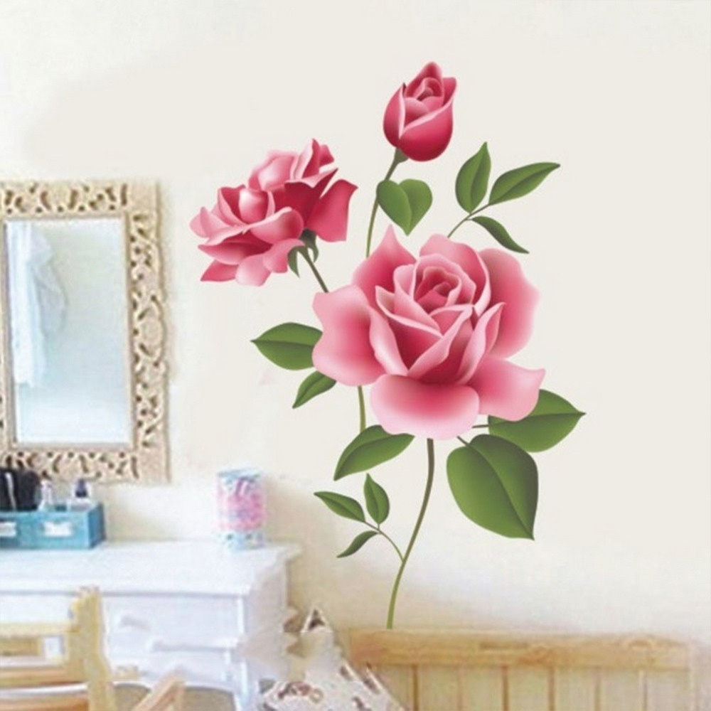 Current Romantic Rose Flower Love 3D Wall Sticker Home Decor Living Room With Flowers 3D Wall Art (View 4 of 15)