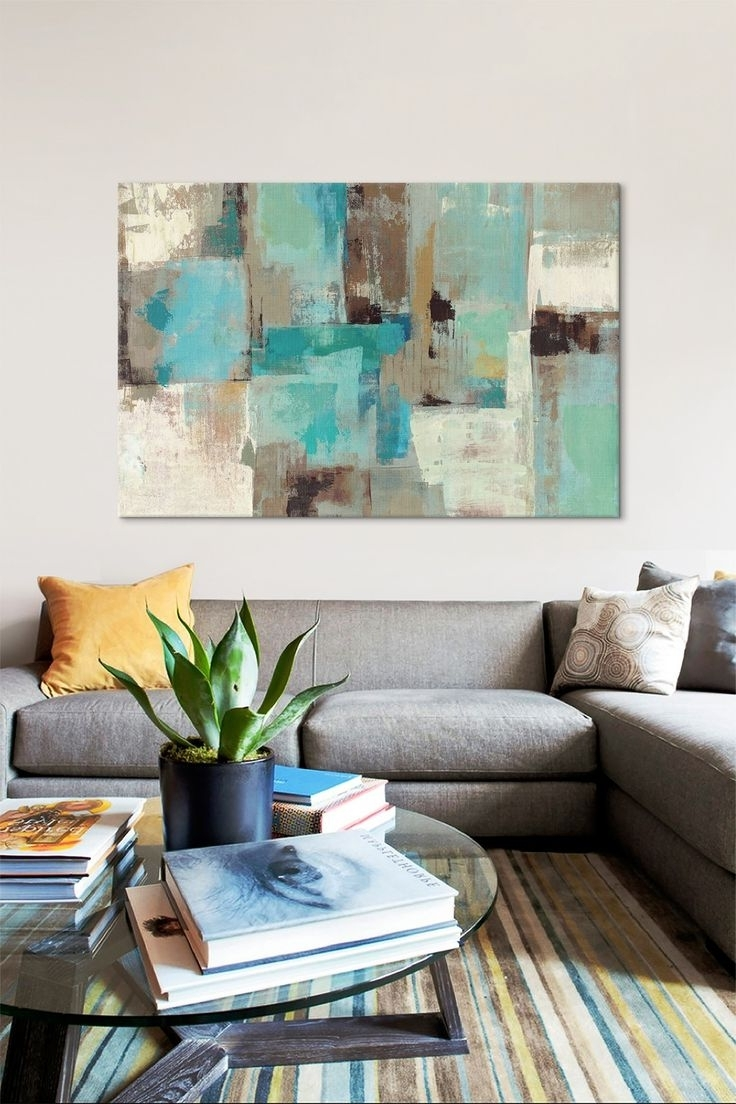 Current Teal & Aqua Reflections #2silvia Vassileva Canvas Wall Art Throughout Aqua Abstract Wall Art (View 10 of 15)