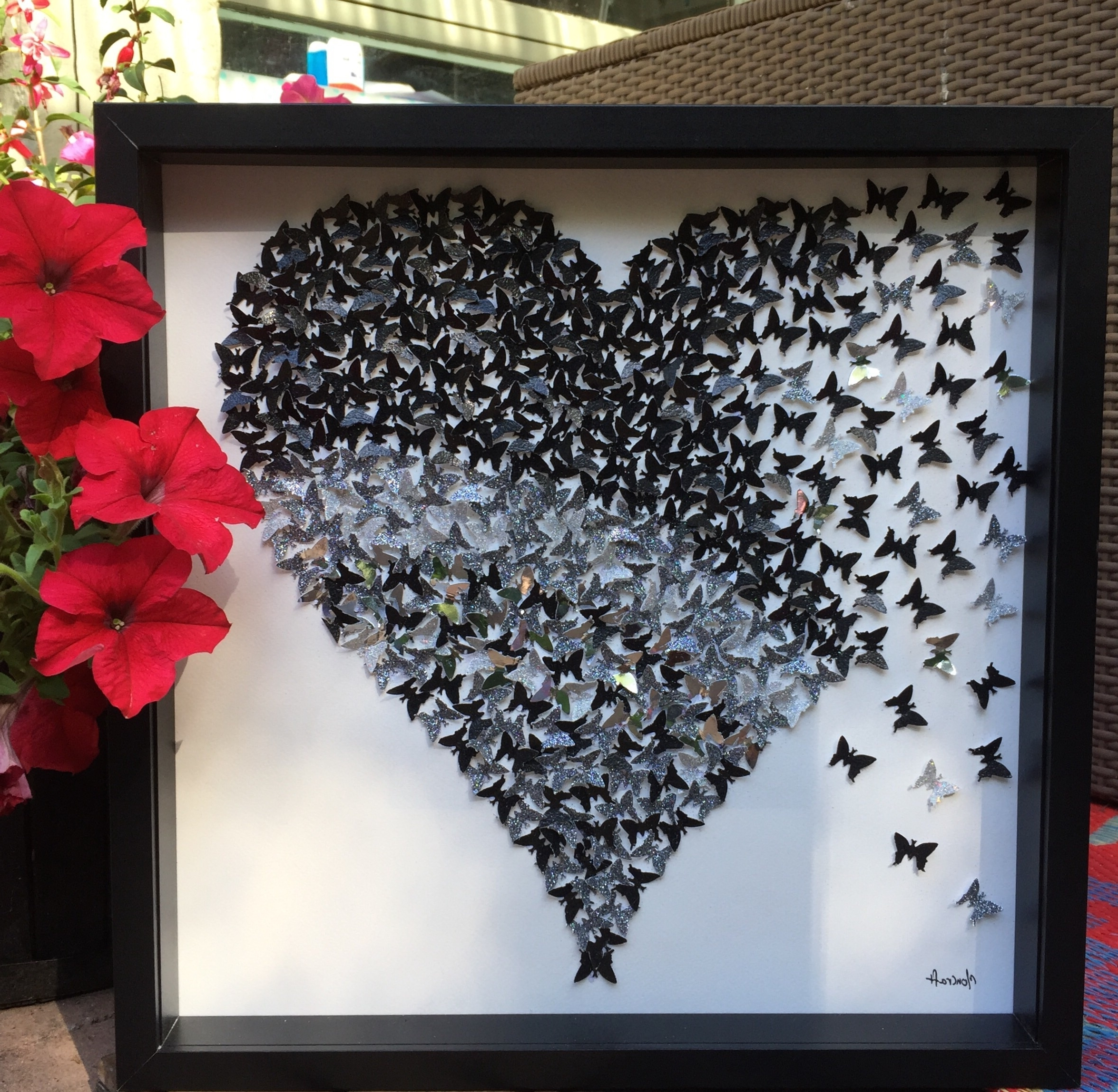 Current The Product 3D Sparkly Black Silver Heart , Paper Heart Frame Hand Pertaining To 3D Butterfly Framed Wall Art (View 8 of 15)