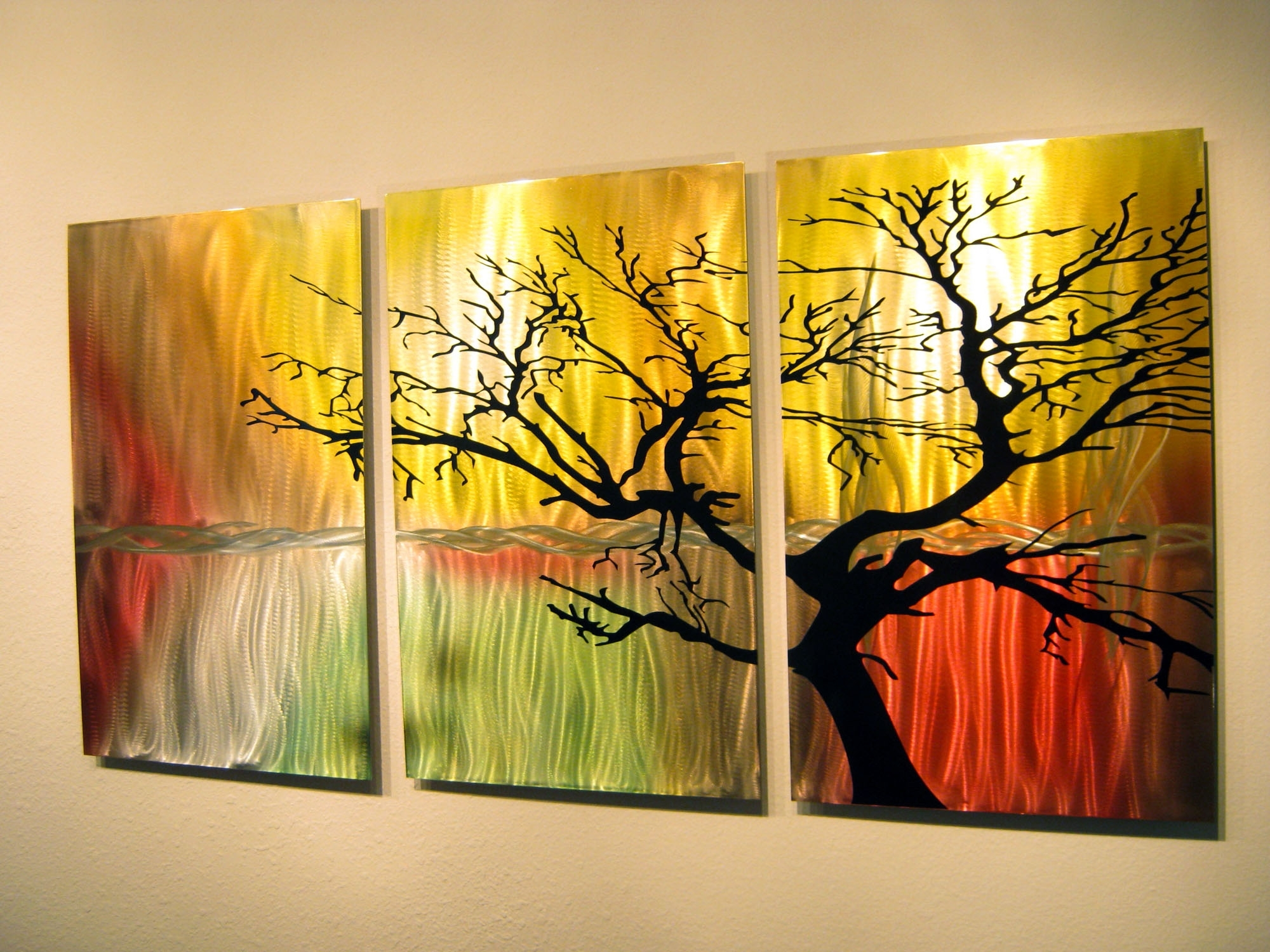 Current Tree In Silhouette  Metal Wall Art Contemporary Modern Decor  3 For Three Panel Wall Art (View 3 of 15)