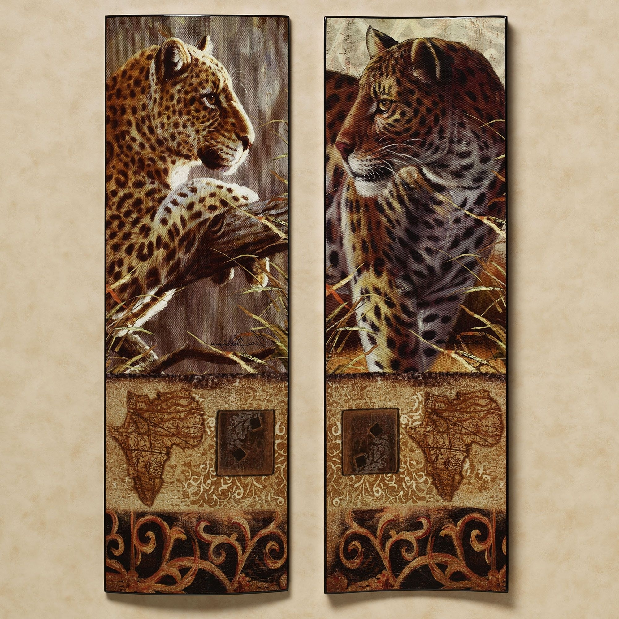 Current Tribal Style Animal Masks Set Of Twodesign Toscano Regarding Leopard Print Wall Art (View 4 of 15)